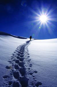 The snowshoe approach to Greg Mace Peak in the Elk Range. Dave Cooper