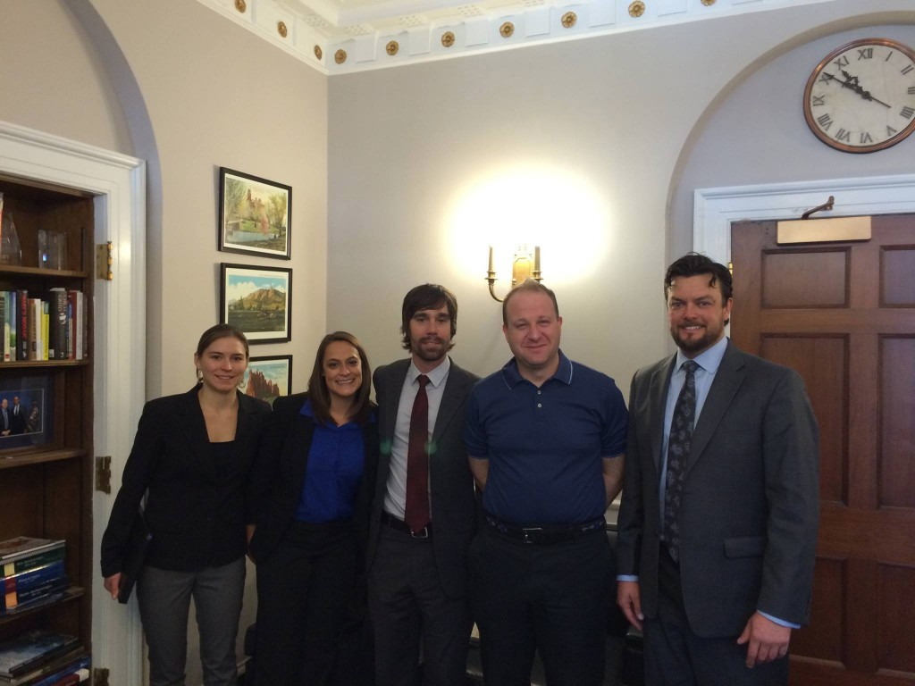From left to right: Julie Mach (CMC), Aimee Ross (International Mountain Biking Association), Jason Bertolacci (International Mountain Biking Association), Jared Polis (US Representative), and Nathan Fey (American Whitewater).