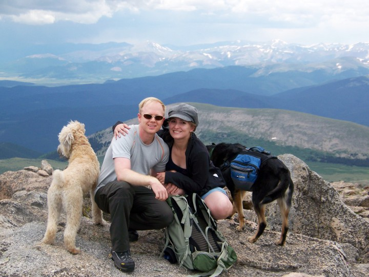 My first summit, with my now wife Kristina, and our dogs Francesca and Ayer, sitting atop Rosalie Peak (13,575') July 12, 2009. Photo courtesy of Alan Kolaczkowski.