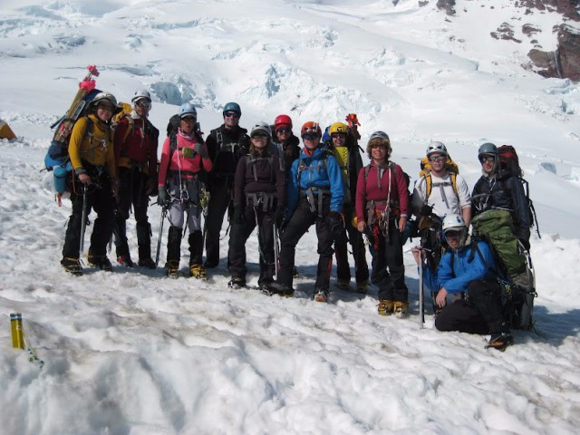 Mount Rainier (14,410') High Altitude Mountaineering School Graduation Team at Camp Schurman, July 2012. Photo courtesy of Vern Bass.